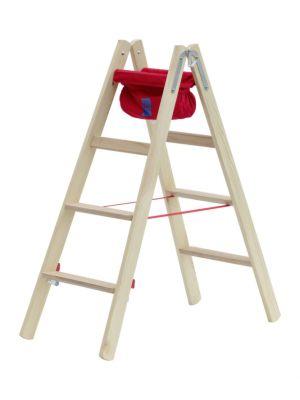 Stufenstehleiter, beidseitig, 2x4 Stufen, Holm L 1,24m, Holz
